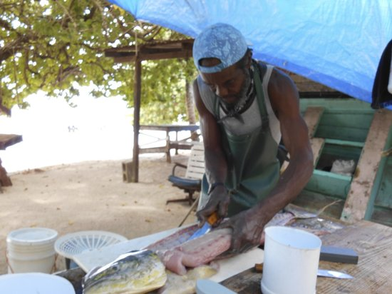 Coco Reef Tobago: Fish being prepared for a local restaurant