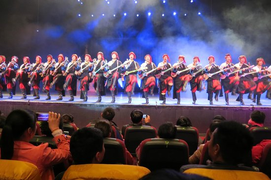 Zang Mi Tibetan Music and Dance Show: Some of the dancers with their instruments