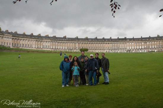 The English Bus: The whole group at the Royal Crescent in Bath
