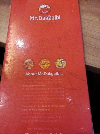 Die Speisekarte des Mr. Dakgalbi