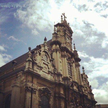 View from la Guinguette en ville on the church across the square.
