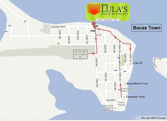 Hotel Lula's Bed and Breakfast: How to get to Lulas!