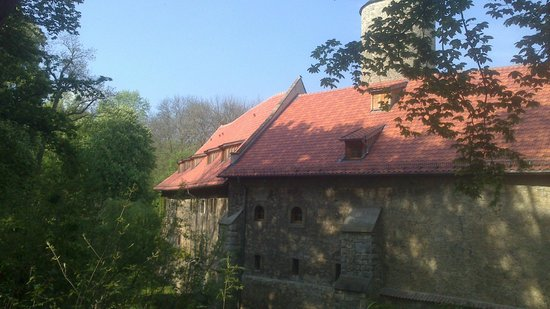 Hotel und Spa Wasserschloss Westerburg: Außenansicht der Burganlage vom Spazierweg im Park