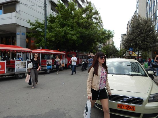 Athens Happy Train: the train beginins and ends her, there is a green coloured train as well as the red one