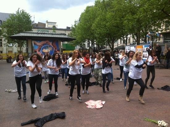 Flash mob at Place d'Armes, Luxembourg City