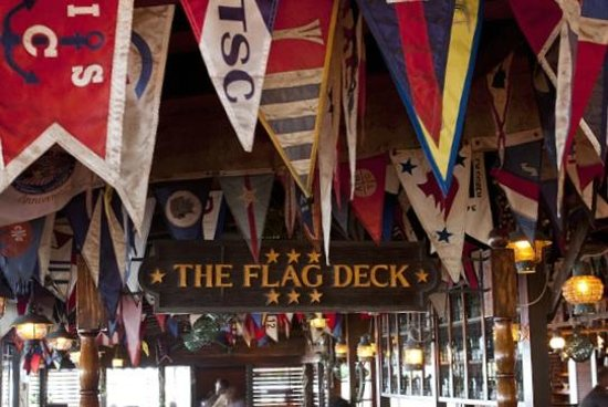The legendary Flag Deck section of the Clubhosue Restaurant at Bitter End Yacht Club