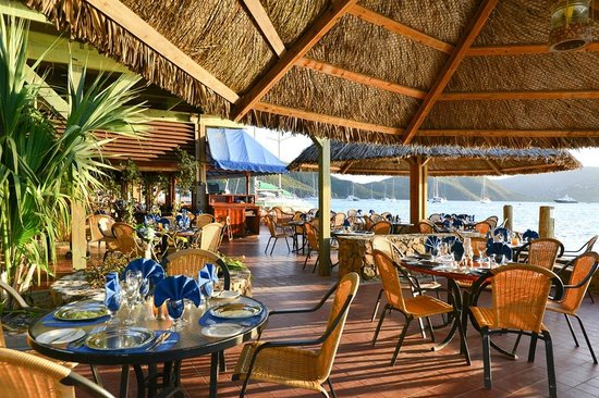 Hokin Terrace section of the Clubhouse Restaurant at Bitter End Yacht Club