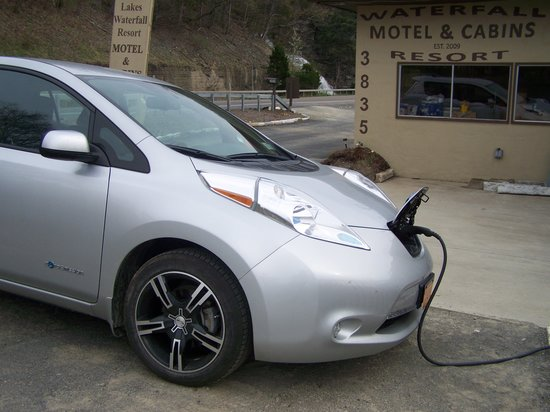 Finger Lakes Waterfall Resort: Traveling with an electric car? First charge is free, subsequent charges are a nominal fee!