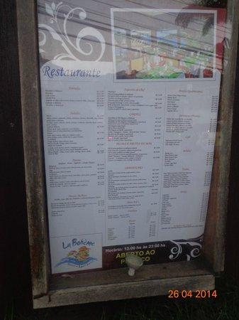 La Boheme Hotel e Apart Hotel: Esta es la lista de precios del restaurante en abril del 2014