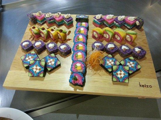 Rollos de Sushi de Colores en Keizo