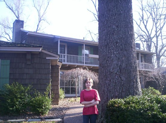 Ruby Lodge at Spring Lake Woods: our daughter in front of the Lake House