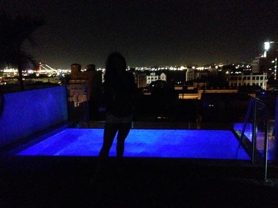 La Terraza de San Juan: The infinity pool at night with changing colors!