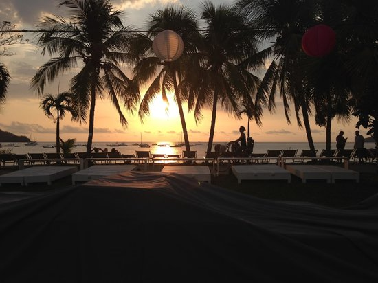 Cafe de Playa Beach Resort & Dining: Sunset view from Cafe de Playa at Playa del Coco, Costa Rica