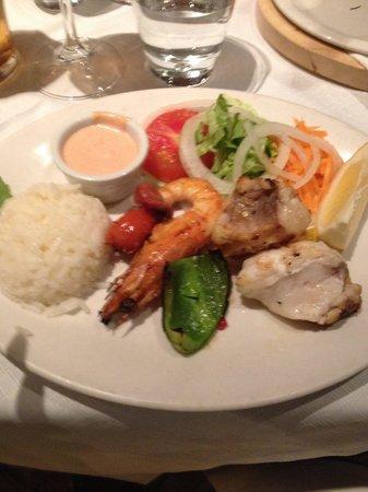O Marisco: Monkfish and Prawn kebab