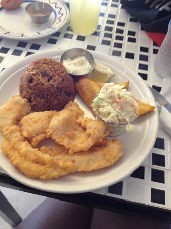 Bahamian Cookin' Restaurant & Bar: Grouper Fingers, peas/rice & plantains