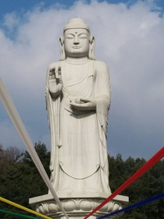 Donghwasa : Massive 30 metre tall stone statue of Yaksayore-bul (The Medicine Buddha).