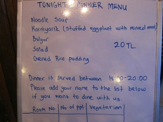 ShoeString Cave House : Daily dinner menu offered by the hotel.
