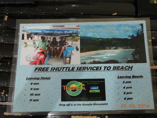 Kamala Tropical Garden Hotel: Free Shuttle Service