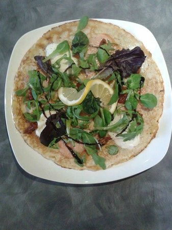 The Strawberryfield Pancake Cottage: Smoked Salmon, Mozzarella Cheese & Mixed Salad Leaves with a balsamic/honey-dressing