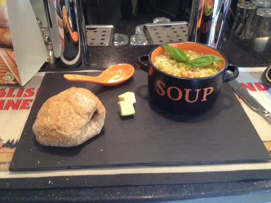 Mr Ant's: Delicious spring vegetable soup with noodles and pesto served with homemade wholemeal bread bun.