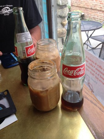 The Dripolator Coffeehouse: Espressoda with 2 shots and cream served with Mexican bottle of Coke...a shot to your senses!