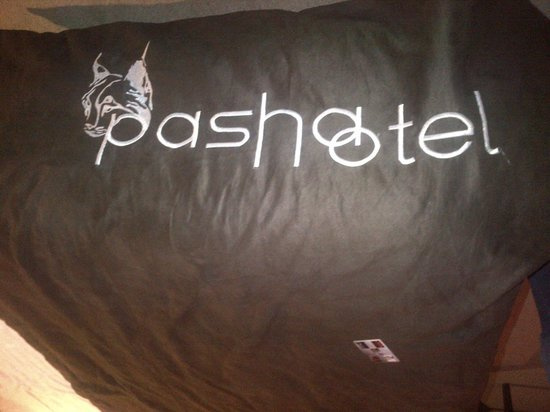 Pasha Hotel: here's where the money went.....monogrammed bedding... !!??