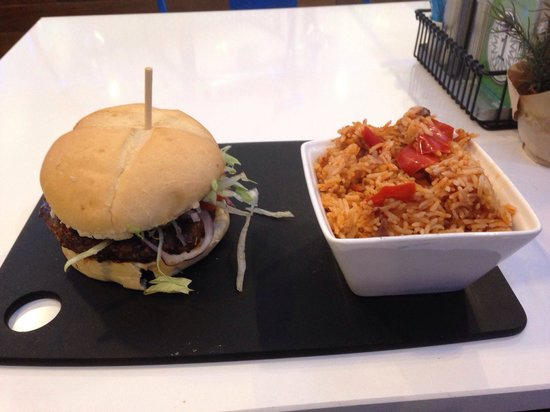 Roosters Piri Piri: Lamb Burger and Rice