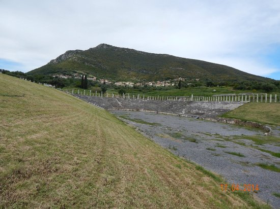 Ancient Messini: The hypodrome and Mt. Ithomi in the background