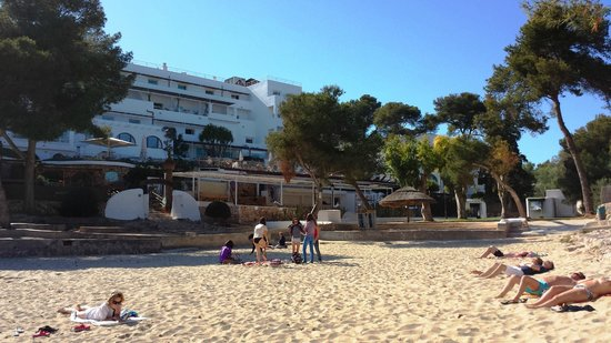 Hotel Cala d'Or: View from the beach to the back of the hotel
