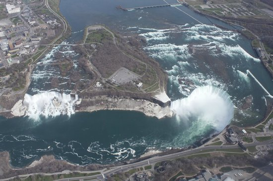 National Helicopters - Niagara Falls Heli-Tours : Both Falls from above