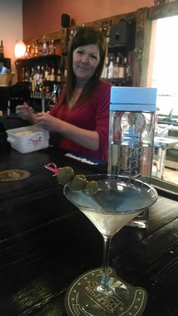 The Spur: Hand-stuffed bleu cheese olives in the Dirty Double Cross Martini