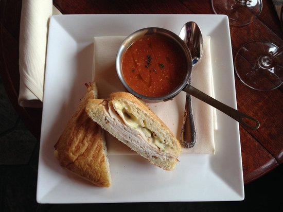 Free Range Turkey and Brie with Tomato Gorgonzola soup - Picture of ...