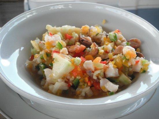 Grotto Bay Bahamas: Conch salad at Seaside Village