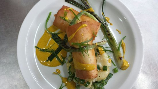 The Punter: Saffron basmati and filo parcels w/ warm potato salad, spring onions and curried yoghurt