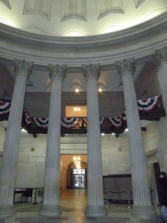 Inside the rotunda at the Federal Hall National Memorial