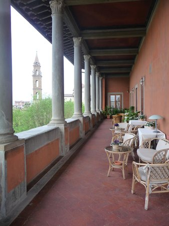 Hotel Palazzo Guadagni: look down the loggia towards the main town