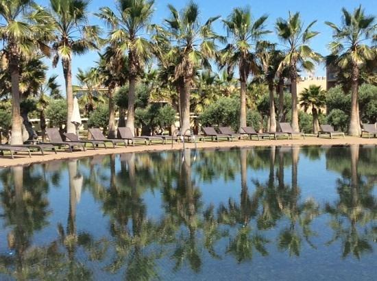 Salgados Dunas Suites: Uma das piscinas e parte do hotel por trás das matebeiras