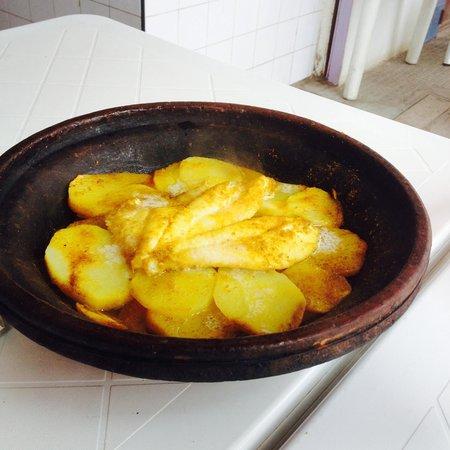 Chez hosni : Tagine with white fish and Hosni's special saffron sauce