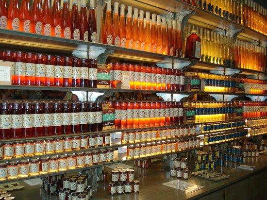 Savannah Bee Company: The honey is backlit like fine liquors - clever. :)