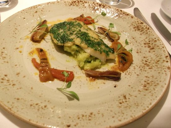 Kitchen W8: Fillet of Cornish Whiting with Crushed Courgettes, Tropea Onions and Sweet and Sour Peppers