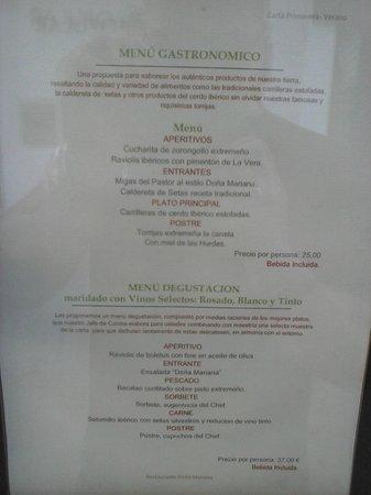 Hospederia Mirador de Llerena: carta de precios