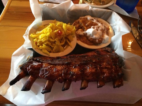 Cue Barbeque: Ribs with sweet potato casserole and vinegar slaw