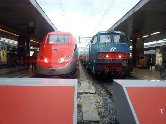 2 trains inside Stazione Termini