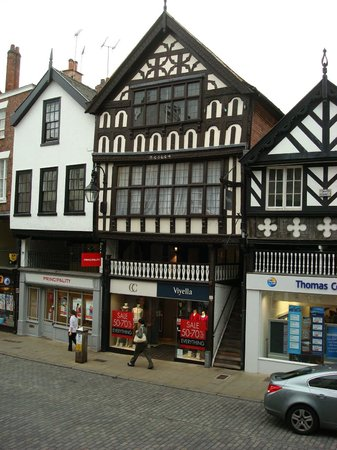 Walls of Chester: Half Timbered shops/homes from the Wall
