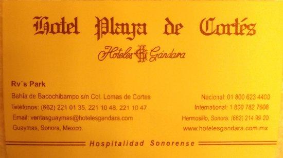 Hotel Playa de Cortes : 1100 pesos la nuit en avril 2014.