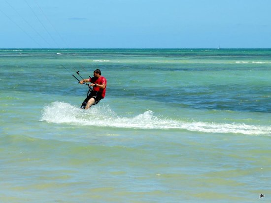 Bahia Honda State Park and Beach: Kite boarding in the surf - the board and man
