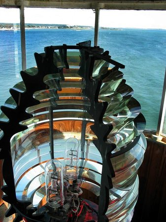 New London Harbor Light: the view out fron the lighthouse lantern