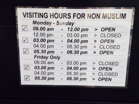 National Mosque (Masjid Negara): Open time for non Muslim
