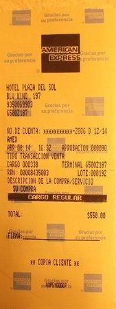 Hotel Plaza Del Sol: Mon paiement avec American Express.