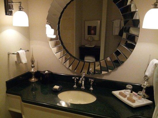 Park Hyatt Toronto: marbled sink & large mirror in bathroom